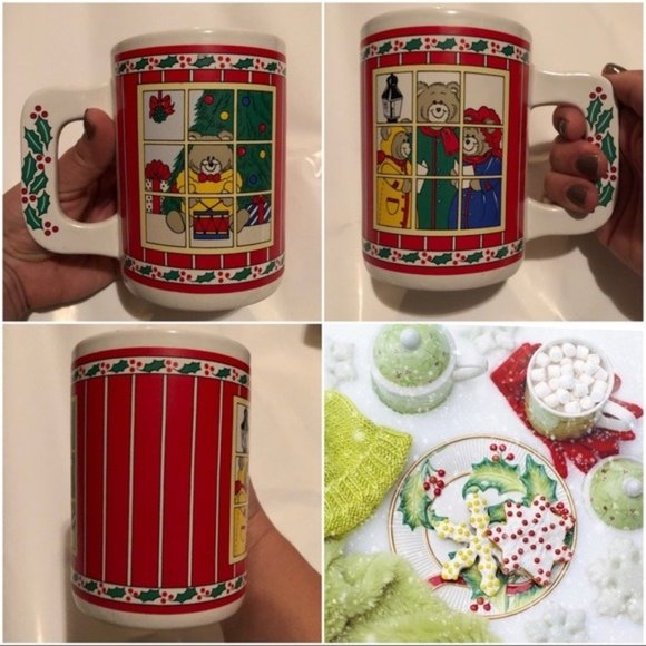 Vintage Christmas Holiday Large Coffee Cup Mug